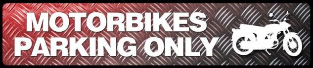 Motorbikes parking only Straßenschild Metallic Motorrad Blechschild 46x10cm