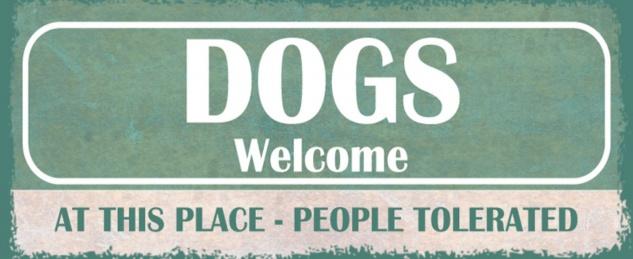 Blechschild Spruch Hund Dogs Welcome Metallschild 27x10 cm Wanddeko tin sign