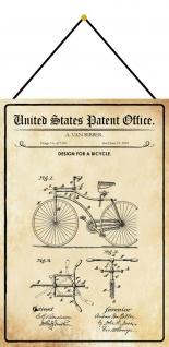 Blechschild Patent Entwurf für Bicyle Fahrrad Deko 20 x 30 m.Kordel