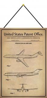 Blechschild Patent Entwurf langes Passagier - Flugzeug Deko 20 x 30 m.Kordel