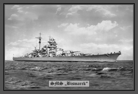 Retro: SMS Bismarck Kriegschiff Metallschild Wanddeko 20x30 cm tin sign