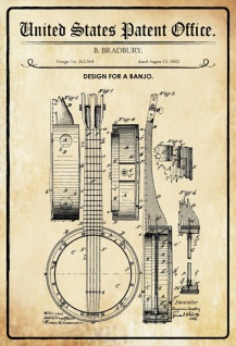US Patent Office - Design for a banjo - Entwurf für einen banjo - Bradbury - 1882 - Design No 262564 - Blechschild