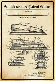 Blechschild Patent Entwurf für ein Tacker-Ruskin Metallschild Wanddeko 20x30 cm tin sign