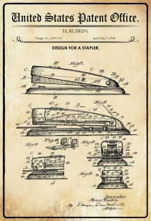 US Patent Office - Design for A Stapler- Entwurf für ein Tacker - Ruskin, 1946 - Design No 2.399.761 - Blechschild
