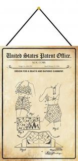 Blechschild Patent Entwurf für Strand- Badebekleidung Deko 20 x 30 m.Kordel