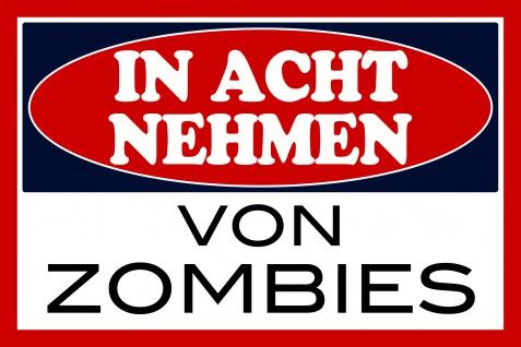 In Acht Nehmen von Zombies blechschild