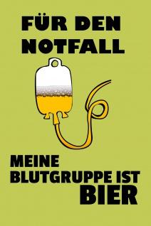 Blechschild Spruch Blutgruppe Bier Metallschild Wanddeko 20x30 cm tin sign
