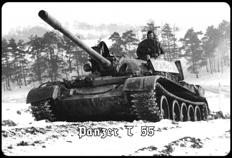Blechschild Panzer T 55 (im Schnee) Metallschild Wanddeko 20x30 tin sign