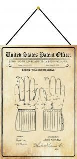 Blechschild Patent Entwurf für einen Hockey - Handschuh Deko 20 x 30 m.Kordel