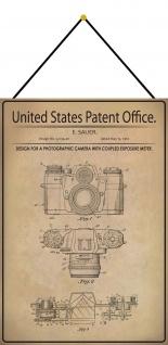 Blechschild Patent Entwurf für ein Fotoapparat Metallschild 20 x 30 m.Kordel