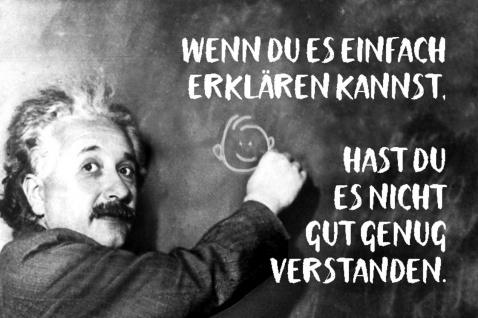 Blechschild Spruch Wenn du es einfach erklären Einstein Metallschild Wanddeko 20x30 cm tin sign