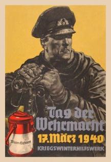 Retro: Tag der Wehrmacht 17 März 1940 Blechschild 20x30 cm - Vorschau 1