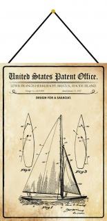 Blechschild Patent Entwurf Segelschiff Metallschild Deko 20 x 30 m.Kordel