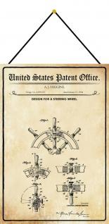 Blechschild Patent Entwurf für ein Schiffssteuerrad Metallschild 20 x 30 Kordel