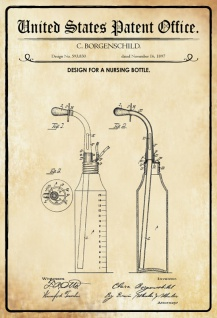 US Patent Office - Design for a Nursing Bottle - Entwurf für ein Kinderflasche - Borgenschild, 1897 - Design No 593.830 - Blechschild