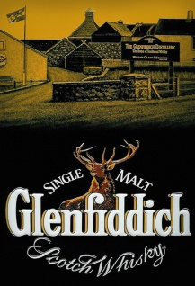 Glenfiddich Single Malt Scotch Whisky distillerie distillary etikett alkohol blechschild