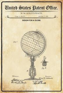 US Patent Office - Design for A Globe - Entwurf für ein Globus - Goldthwaite, 1888 - Design No 386.399 - Blechschild