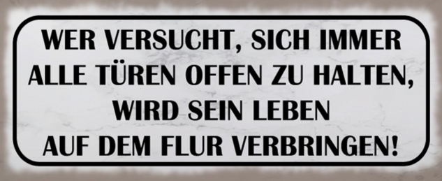 Blechschild Spruch Türen Leben Flur Metallschild 27x10 cm Wanddeko tin sign