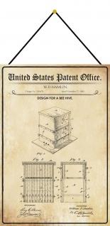 Blechschild Patent Entwurf für einen Bienenstock Metallschild 20 x 30 m.Kordel