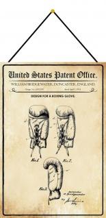 Blechschild Patent Entwurf für einen Boxhandschuh Metallschild 20 x 30 m.Kordel