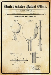 US Patent Office - Design for a Table Tennis Bat - Entwurf für einen Tischtennisschläger - Perryman - 1935 - Design No 2.011185 - Blechschild
