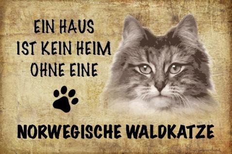 Ein haus ist kein heim ohne eine Norwegische waldkatze katze blechschild