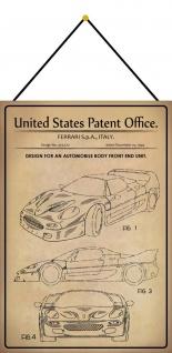 Blechschild Patent Entwurf Karosserie Sportwagen Metallschild 20 x 30 m.Kordel