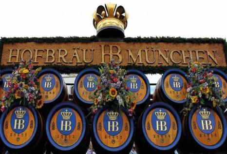 Hofbräu Paulaner München Oktoberfest bierfässer blechschild