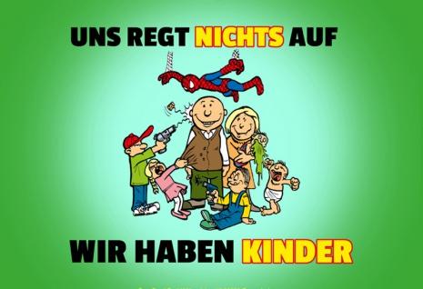 """"""" Uns Regt Nicht Auf Wir Haben Kinder"""" Blechschild, Spruchschild, Lustig, Comic, Eltern, Kinder, metallschild, dekoschild"""