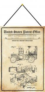 Blechschild Patent Entwurf für Militärfahrzeug Karosserie Deko 20 x 30 m.Kordel