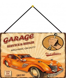 Blechschild Garage service & repair Metallschild 20x30 cm Deko mit Kordel