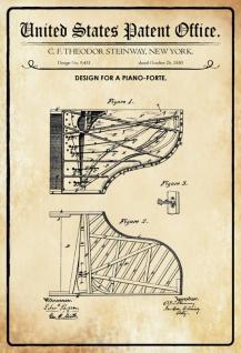 US Patent Office - Design for a Piano Forte - Entwurf für einen Klavier - Steinway - 1880 - Design No 9431 - Blechschild