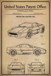 Blechschild Patent Entwurf Fahrzeug Ferrari- Italy Metallschild Wanddeko 20x30 cm tin sign
