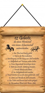 Blechschild 12 Gebote Unterschied Pferdestall zu Schweinestall 20x30 mit Kordel