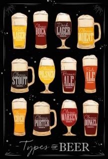 Types of Beer Bier Sorten übersichtskarte mit dunkel hintergrund blechschild
