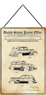Blechschild Patent Entwurf für ein Oldtimer Auto Metallschild 20 x 30 m.Kordel