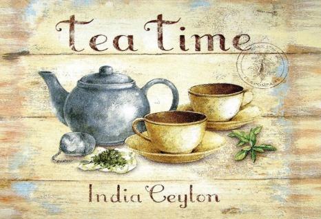 Tea Time India Ceylon Metallschild Wanddeko 20x30 cm tin sign