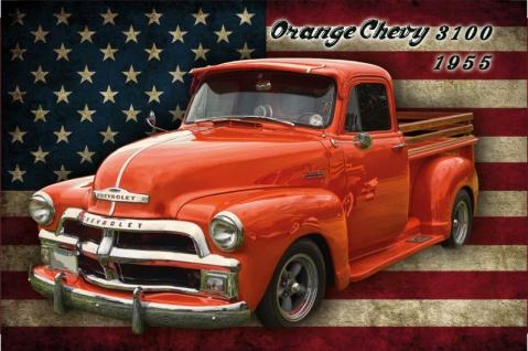 Orange Chevy 3100 1955 auto blechschild, reklame, usa, chevrolet