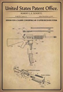 US Patent Office - Design for A Caliber Convertible AR-15 Upper Receiver System - Entwurf für einen Caliber Convertible AR-15 Upper Receiver System - Schuetz 2008 - Design No 7.444.775 - Blechschild