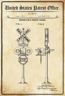 Blechschild Patent Entwurf für Verkehrszeichenanlage Metallschild Wanddeko 20x30 cm tin sign