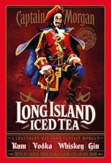 Captain Morgan Long Island ice tea rum whisky gin vodka blechschild