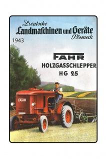 Fahr Landmachinen 1943 Holzgasschlepper HG 25 tracktor trekker blechschild