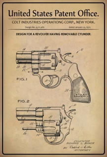 US Patent Office - Design for A Revolver Having Removable Cylinder - Entwurf für einen Revolver mit abnehmbarem Zylinder - Colt, New York, 1973 - Design No 3.711.982 - Blechschild