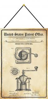 Blechschild Patent Entwurf für eine Kaffeemühle Metallschild 20 x 30 m.Kordel