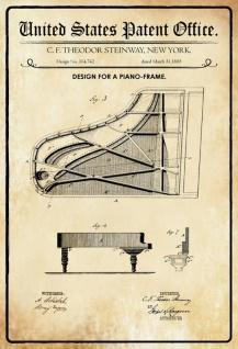 Blechschild Patent Entwurf Klavier-Rahmen-Steinway frane Metallschild Wanddeko 20x30 cm tin sign