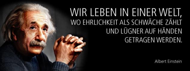 Blechschild Spruch Wir leben in einer Welt, wo Ehrlichkeit als Schwäche zählt und Lügner auf Händen getragen werden. -Einstein- Metallschild 27x10 cm Wanddeko tin sign
