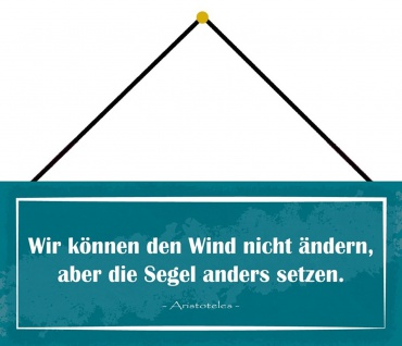 Schatzmix Blechschild Spruch Wir können den Wind nicht ändern Wanddeko 27x10 cm mit Kordel