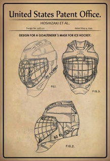 US Patent Office - Design for a Goaltenders Mask Ice Hockey - Entwurf für ein Torhütermaske für Eishockey - Hoshizaki - Design No 358232 - 1995 - Blechschild