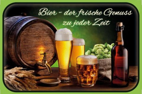 Blechschild Bier - der frische Genuss Metallschild Deko 20x30cm tin sign