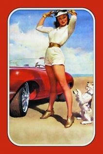 Pinup / pin up mit Hund und rennauto sexy frau blechschild